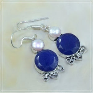 Natural Indian Sapphire, White Pearl Gemstone .925 Silver Earrings - BELLADONNA