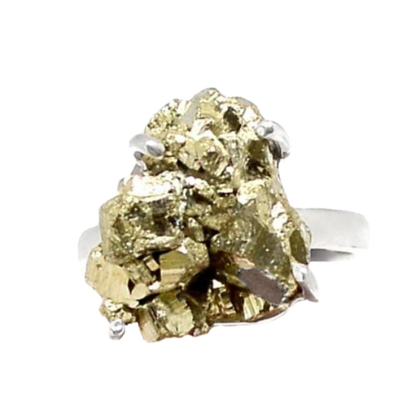 Peruvian Natural Golden Pyrite  Solid .925 Sterling Silver Ring Size 8 - BELLADONNA