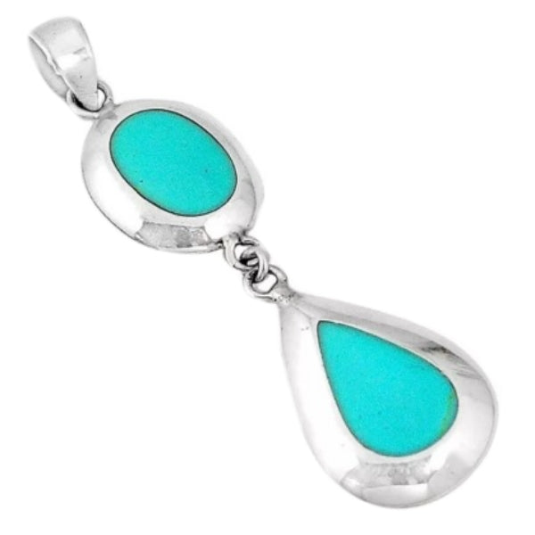 Incredible Beauty Turquoise Enamel Gemstone Solid .925 Sterling Silver Pendant - BELLADONNA