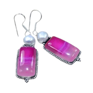 Natural Pink Botswana Lace Agate,Pearl Gemstone .925 Silver Earrings - BELLADONNA