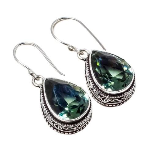 Antique Style Faceted Green Amethyst Pears Gemstone .925 Silver Earrings - BELLADONNA