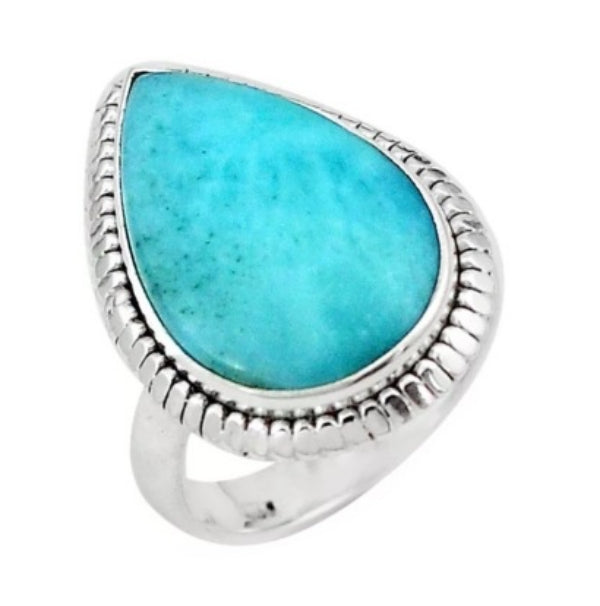 20 x 12 mm Natural Caribbean Larimar Pear Solid .925 Sterling Silver Ring Size 6.5 - BELLADONNA