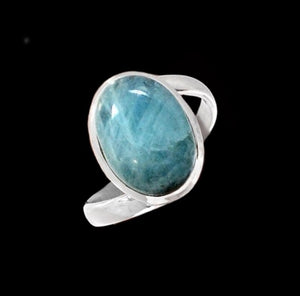 Natural Unheated Aquamarine Oval Gemstone Solid .925 S/ Silver Ring Size 9.5 - BELLADONNA