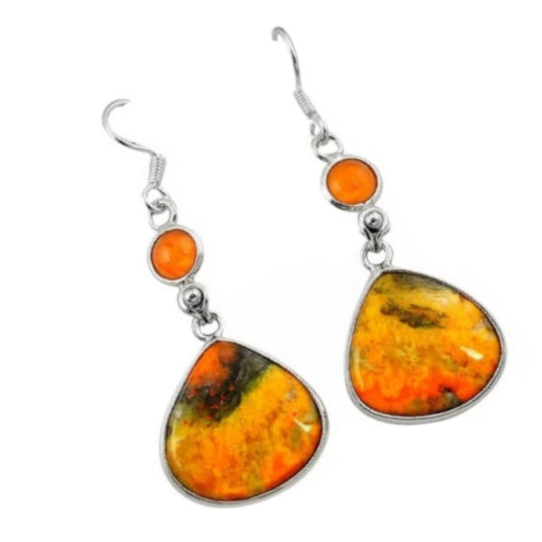 Incredible Australian Bumble Bee Jasper, Carnelian Solid .925 Sterling Silver Earrings - BELLADONNA
