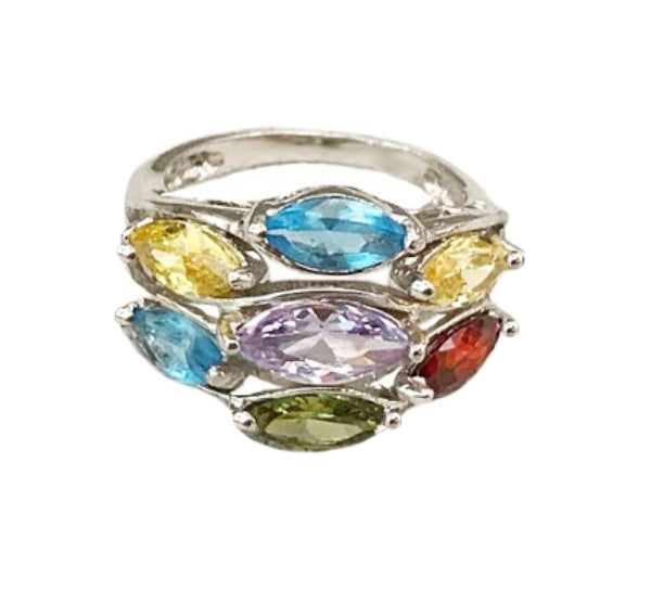 Faceted Multi Gemstone Ring In Solid 925 Sterling Silver. Size 8 - BELLADONNA