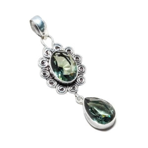 Absolutely Gorgeous Faceted Green Amethyst 925 Silver Pendant - BELLADONNA
