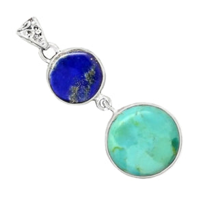 Natural Sleeping Beauty Turquoise, Lapis Lazuli Solid .925 Sterling Silver Pendant - BELLADONNA