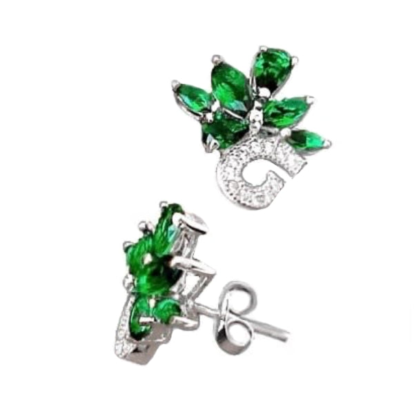 Russian Nano Emerald, White Topaz Earrings In Solid.925 Sterling Silver - BELLADONNA