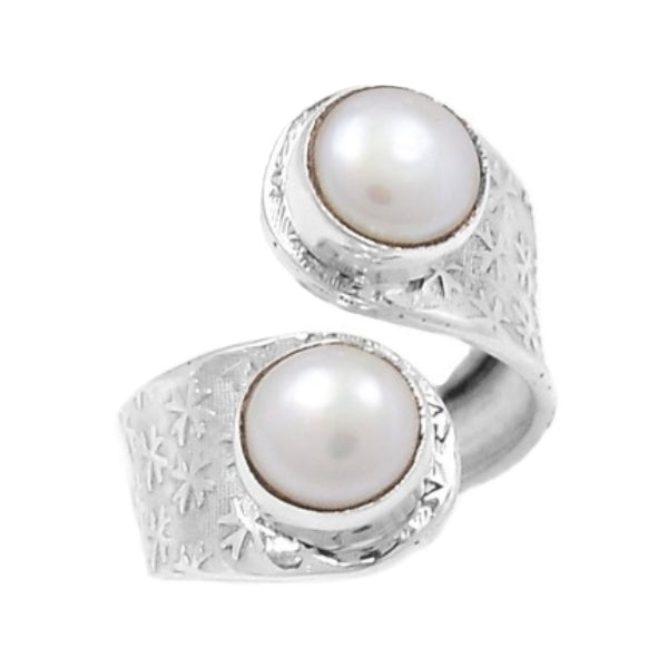 Natural White Pearl  Solid .925 Sterling Silver Size 8 Adjustable - BELLADONNA