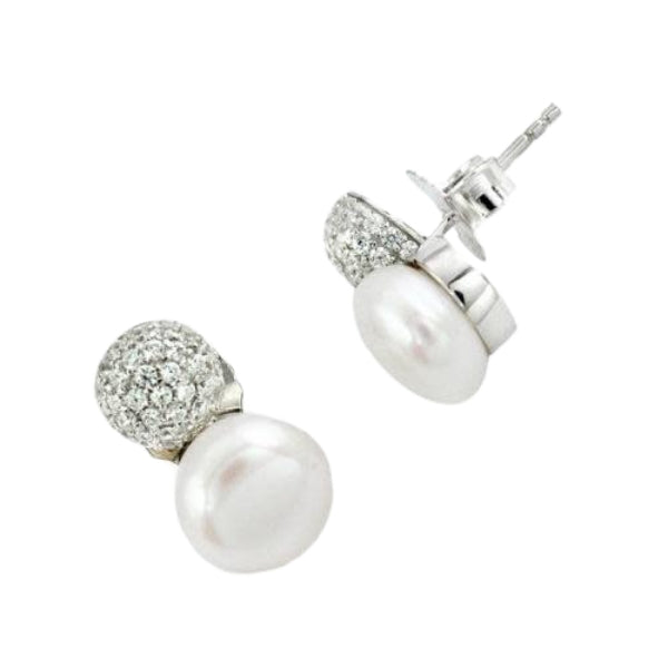 8.71 Cts Natural Freshwater Pearl, White Topaz Solid .925 Silver Stud Earrings - BELLADONNA
