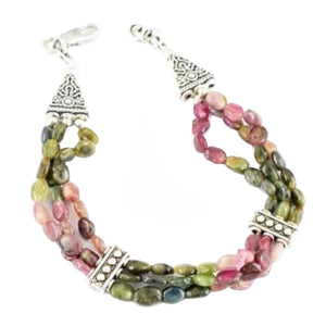 Irresistible 128.95 cts Natural Multi Tourmaline Gemstone Silver Bracelet - BELLADONNA