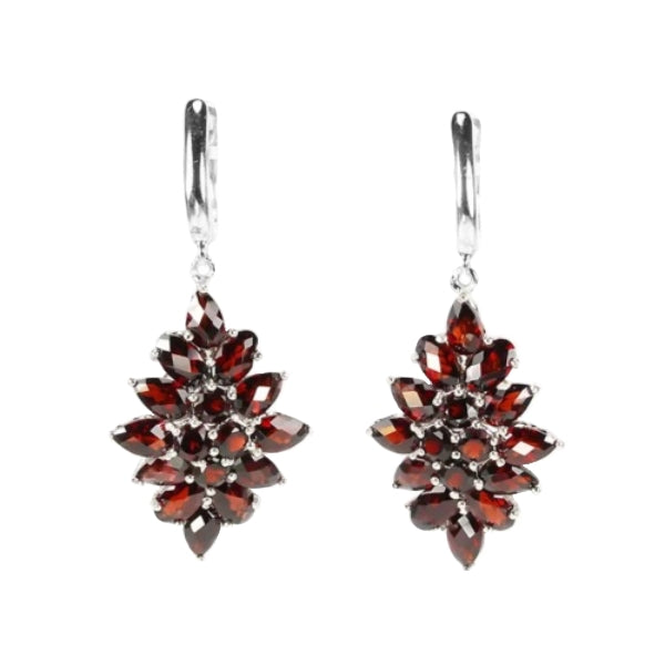 Natural Deep Red Garnet Gemstone Solid .925 Silver White Gold Earrings - BELLADONNA