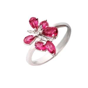 5.03 cts Ruby Quartz & White Topaz .925 Solid Sterling Silver Ring Size 8 - BELLADONNA