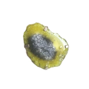 Natural Geode Slice Gemstone .925 Silver Ring Size 8 - BELLADONNA
