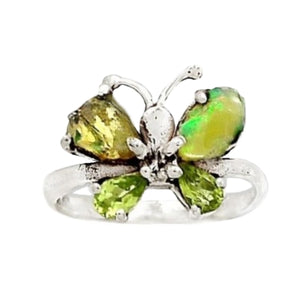 Natural Ethiopian Fire Opal Rough Peridot Gemstone Solid .925 Sterling Silver Sz 7.5 - BELLADONNA