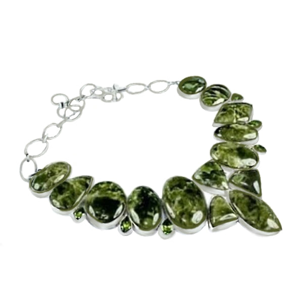 Natural Hessonite, Peridot  .925 Silver Necklace - BELLADONNA