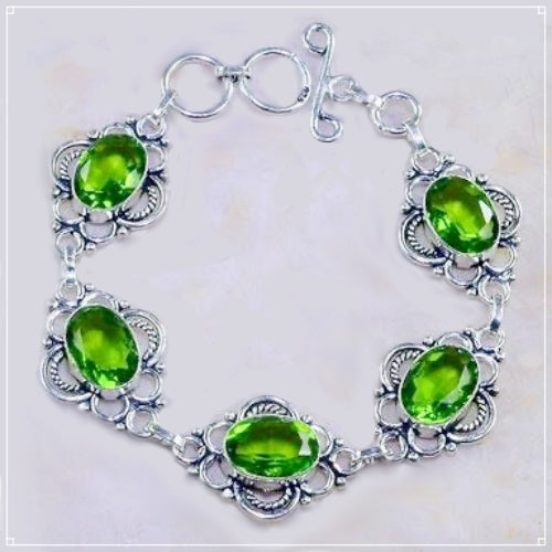 Faceted Peridot Gemstone .925 Silver Bracelet - BELLADONNA
