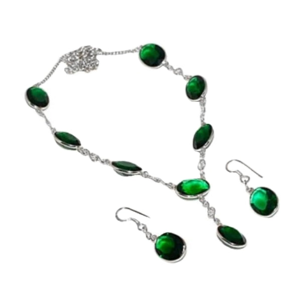 Faceted Ovals Emerald Quartz Gemstone 925 Silver Necklace & Earrings Set - BELLADONNA