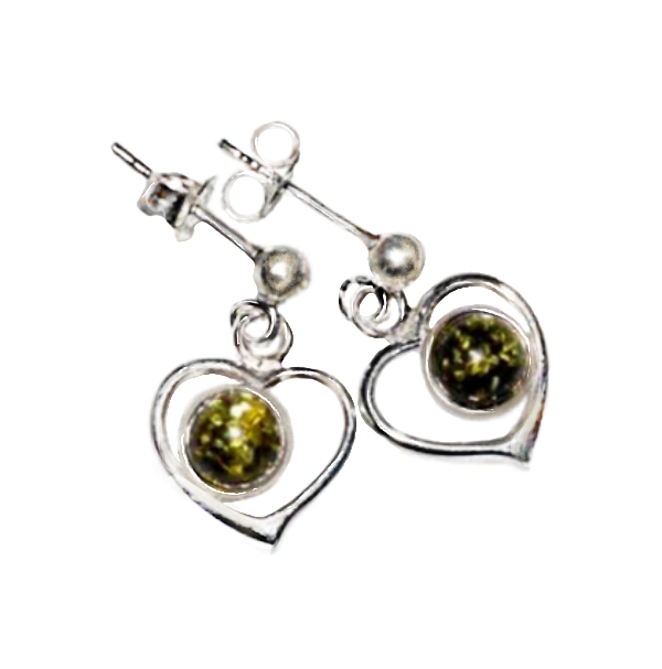 Authentic Green Baltic Amber Gemstone In Solid .925 Sterling Silver Stud Earrings - BELLADONNA