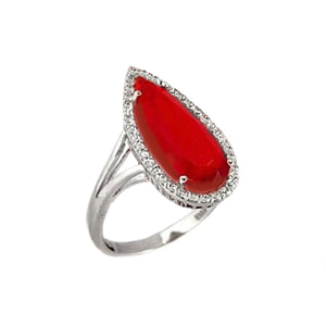 6.13cts Fire Red Garnet And White Topaz Solid .925 Silver Ring Size 9 - BELLADONNA