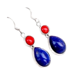Red Coral & Lapis Lazuli Solid .925 Sterling Silver Earrings - BELLADONNA