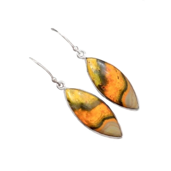 Marquise Shape Indonesian Bumble Bee Jasper Solid .925 Sterling Silver Earrings - BELLADONNA