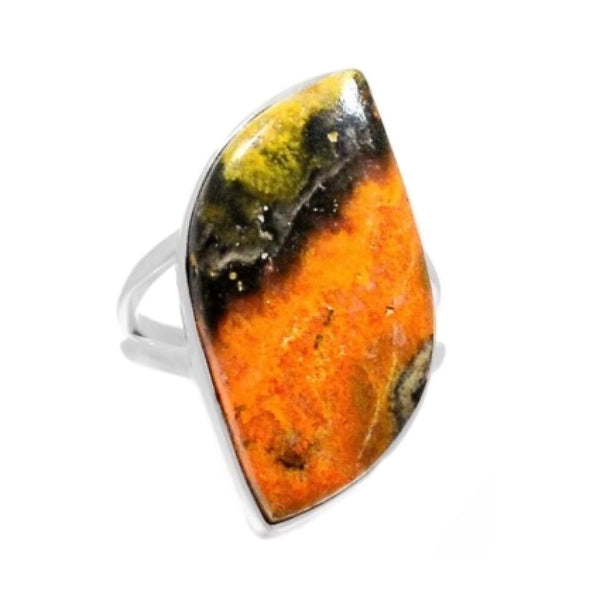 Incredible Indonesian Bumble Bee Jasper Solid .925 Sterling Silver Ring Size 8.5 - BELLADONNA