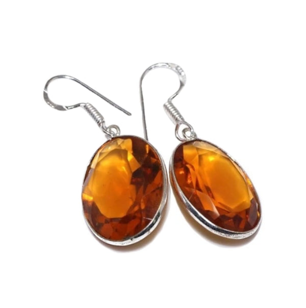 Faceted Cognac Citrine Ovals . 925 Sterling Silver Earrings - BELLADONNA