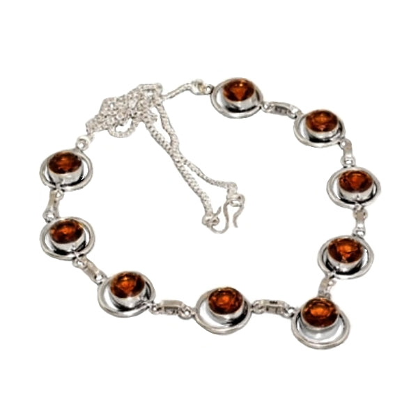 Elegant Cognac Citrine Gemstones .925 Silver Necklace - BELLADONNA