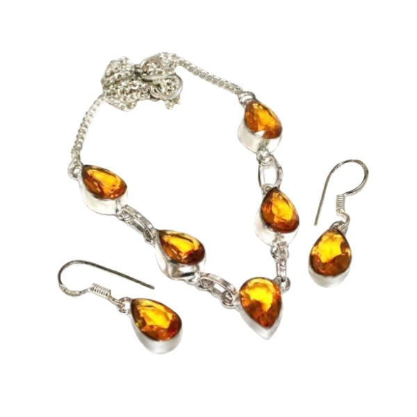 Petite Citrine Gemstone .925 Silver Necklace And Earrings Set - BELLADONNA