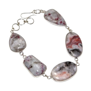Natural Crazy Lace Agate, Pink Tourmaline Gemstone .925 Sterling Silver Bracelet - BELLADONNA