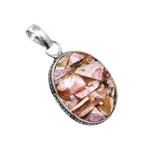 Natural Copper Rhodochrosite Gemstone .925 Sterling Silver Pendant - BELLADONNA