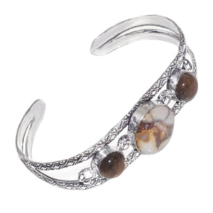 Natural Rock Fossil Tigers Eye Gemstone  .925 Sterling Silver Cuff Bangle - BELLADONNA