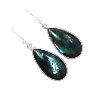 Night Sky Natural Larvikite Black Moonstone Gemstone Solid .925 Sterling Silver Earrings - BELLADONNA