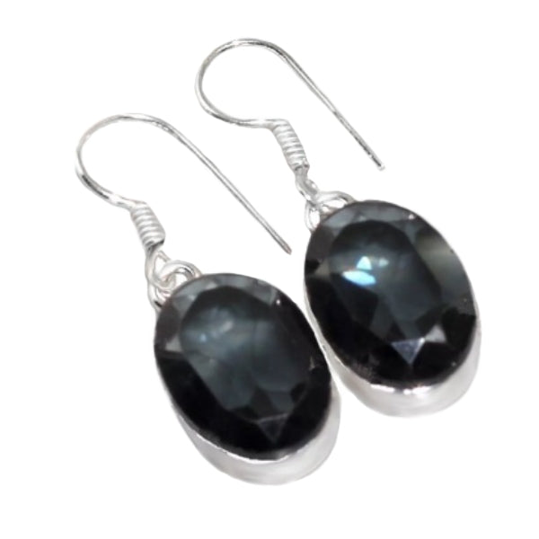 Handmade Black Spinel Oval Gemstone .925 Silver Drop Dangle Earrings - BELLADONNA