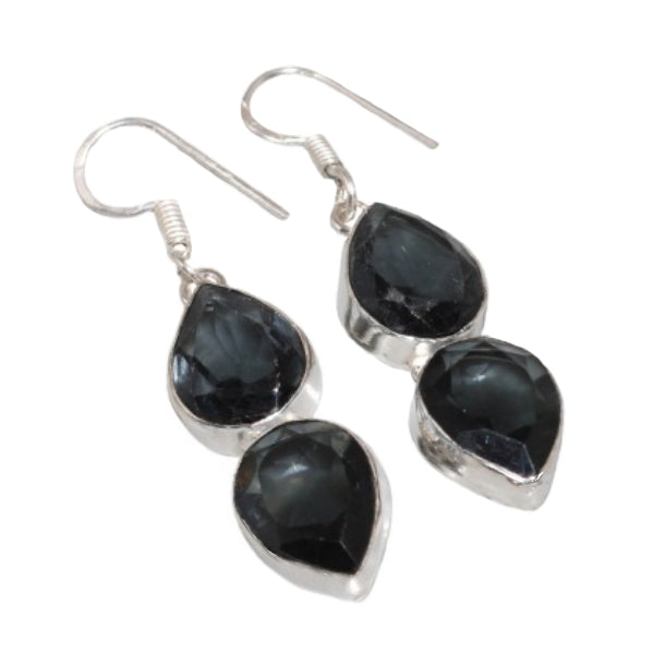 Handmade Black Spinel Pear Gemstone .925 Silver Drop Dangle Earrings - BELLADONNA