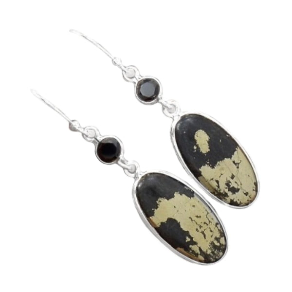 Peruvian Natural Golden Pyrite in Magnetite, Black Onyx set in Solid .925 Sterling Silver Earrings - BELLADONNA