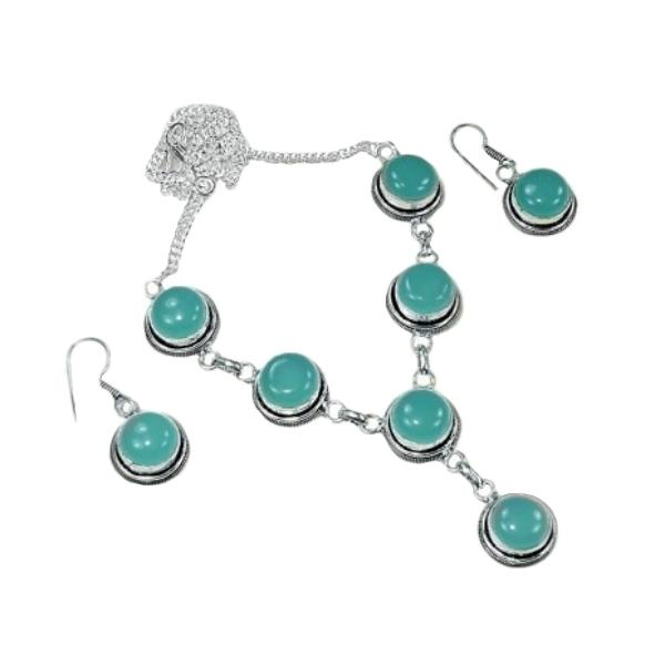 Aqua Green Chalcedony .925 Silver Necklace and Earrings - BELLADONNA