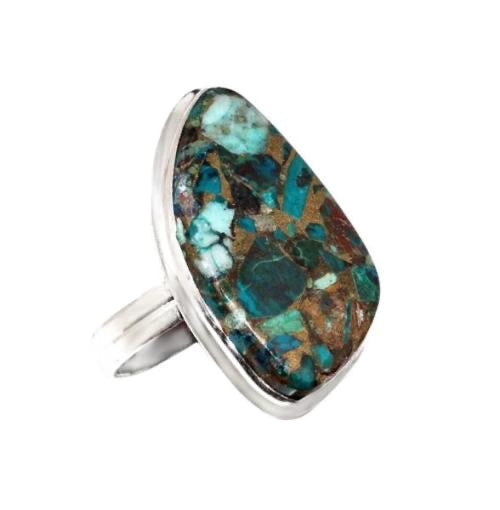 Copper Chrysocolla Set In .925 Sterling Silver Ring Size US 10 - BELLADONNA