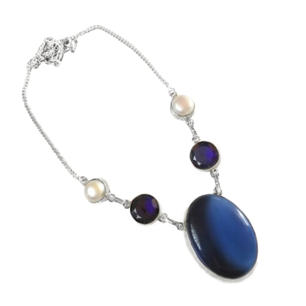 Sapphire Blue Quartz, Chalcedony, Pearl Gemstone .925 Silver Necklace - BELLADONNA