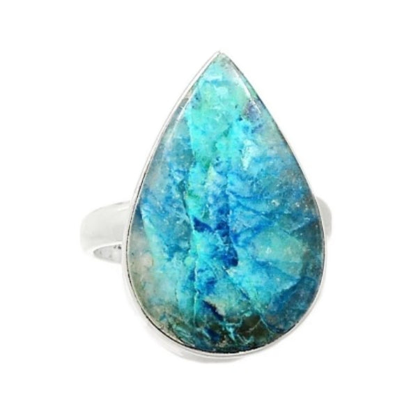 Natural Lightning Azurite With Quartz Gemstone Solid .925 Silver Fine Ring Size US 9.5 - BELLADONNA