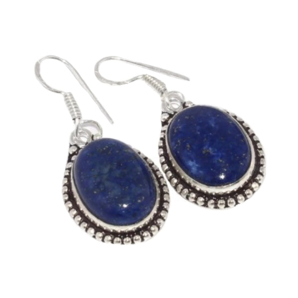 Natural Lapis Lazuli Oval Gemstone .925 Silver Earrings - BELLADONNA