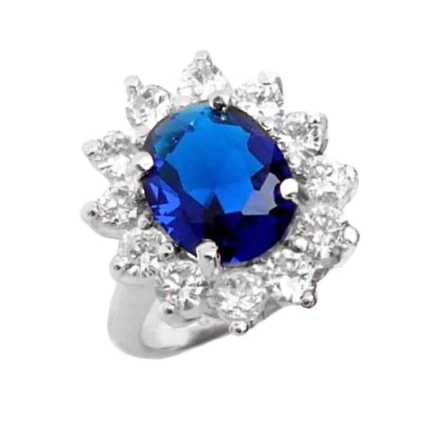 7.06ct Blue Sapphire , White Topaz Solid.925 Sterling Silver Ring Sz 6.5 - BELLADONNA