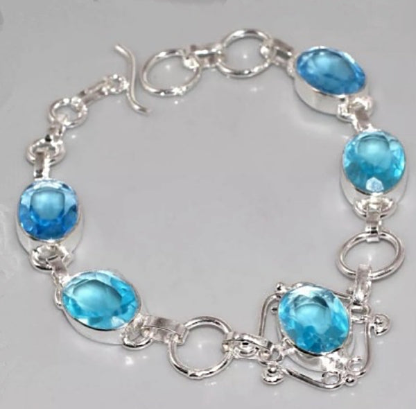 Handmade Faceted Blue Quartz Gemstone .925 Sterling Silver Bracelet - BELLADONNA