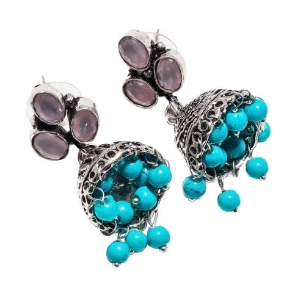 Jhumki Pink Chalcedony, Turquoise Gemstone . 925 Silver Fashion Earrings - BELLADONNA