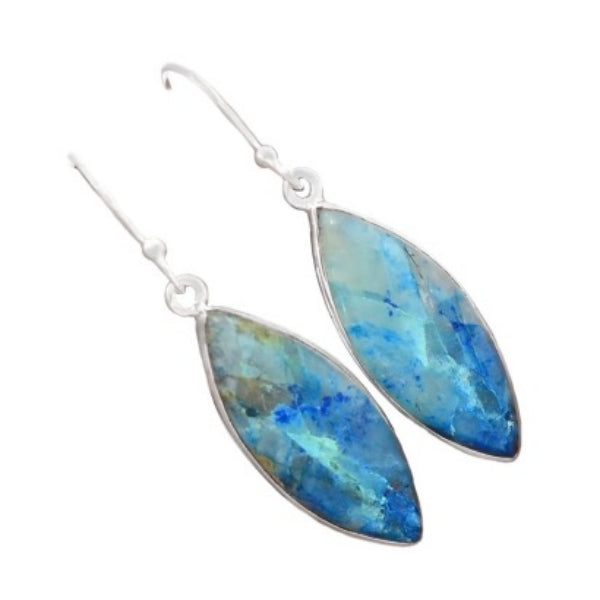 Natural Lightning Azurite With Quartz Gemstone Solid .925 Silver Fine Earrings - BELLADONNA