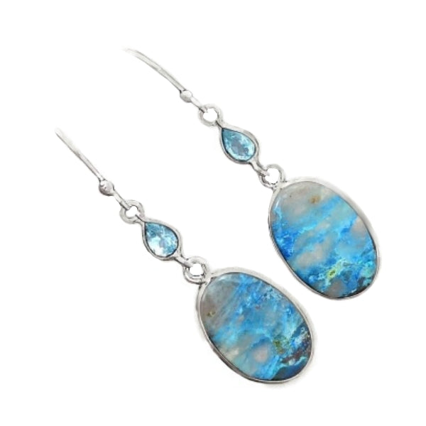 Natural Lightning Azurite With Quartz, Blue Topaz Solid .925 Silver Fine Earrings - BELLADONNA