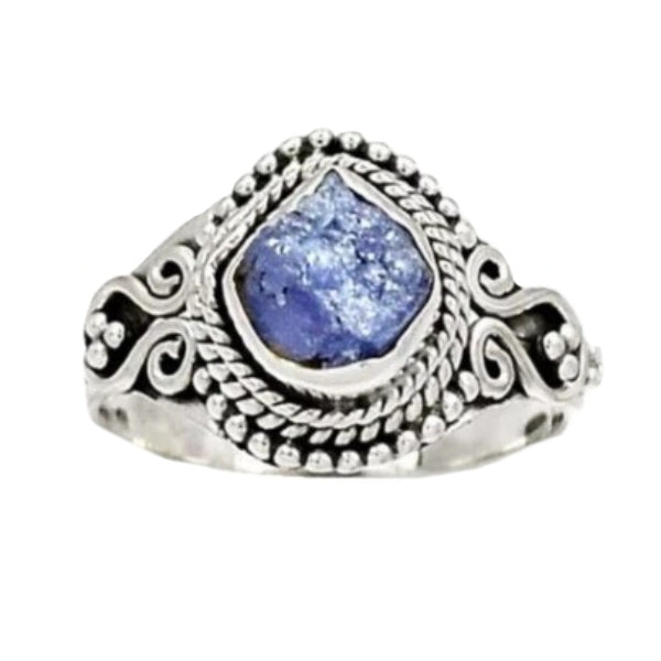 Natural AAA Tanzanite Rough Solid .925 Silver Ring Size 7.5 - BELLADONNA