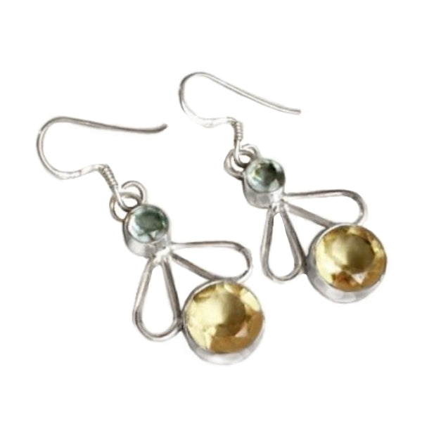 Natural Aquamarine And Lemon Topaz . 925 Sterling Silver Earrings - BELLADONNA