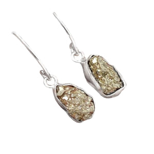 Peruvian Natural Golden Pyrite Solid .925 Sterling Silver Earrings - BELLADONNA